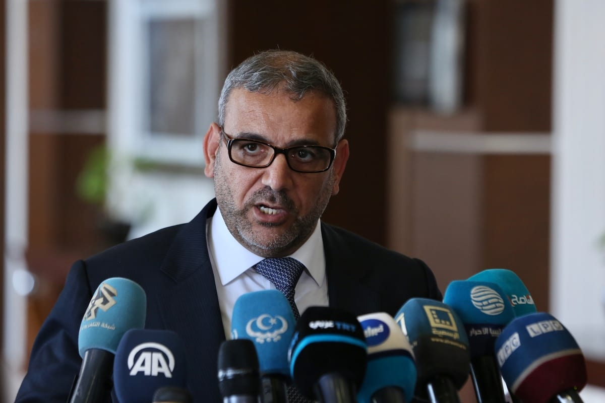 President of the High State Council of Libya, Khalid Al-Mishri speaks to media after his meeting with Turkish Foreign Minister Mevlut Cavusoglu (not seen) in Tripoli, Libya on 6 August 2020. [Hazem Turkia - Anadolu Agency]