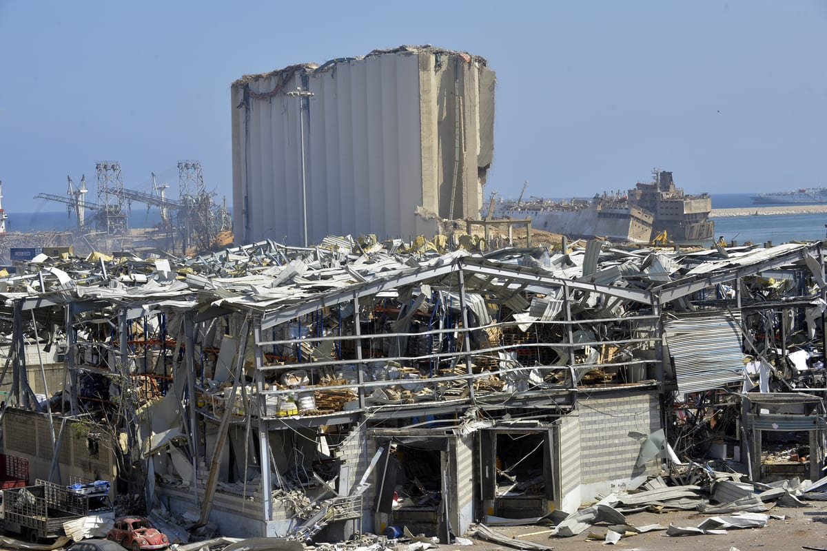 A view of damaged buildings after a fire at a warehouse with explosives at the Port of Beirut led to massive blasts in Beirut, Lebanon on 6 August, 2020 [Houssam Shbaro/Anadolu Agency]