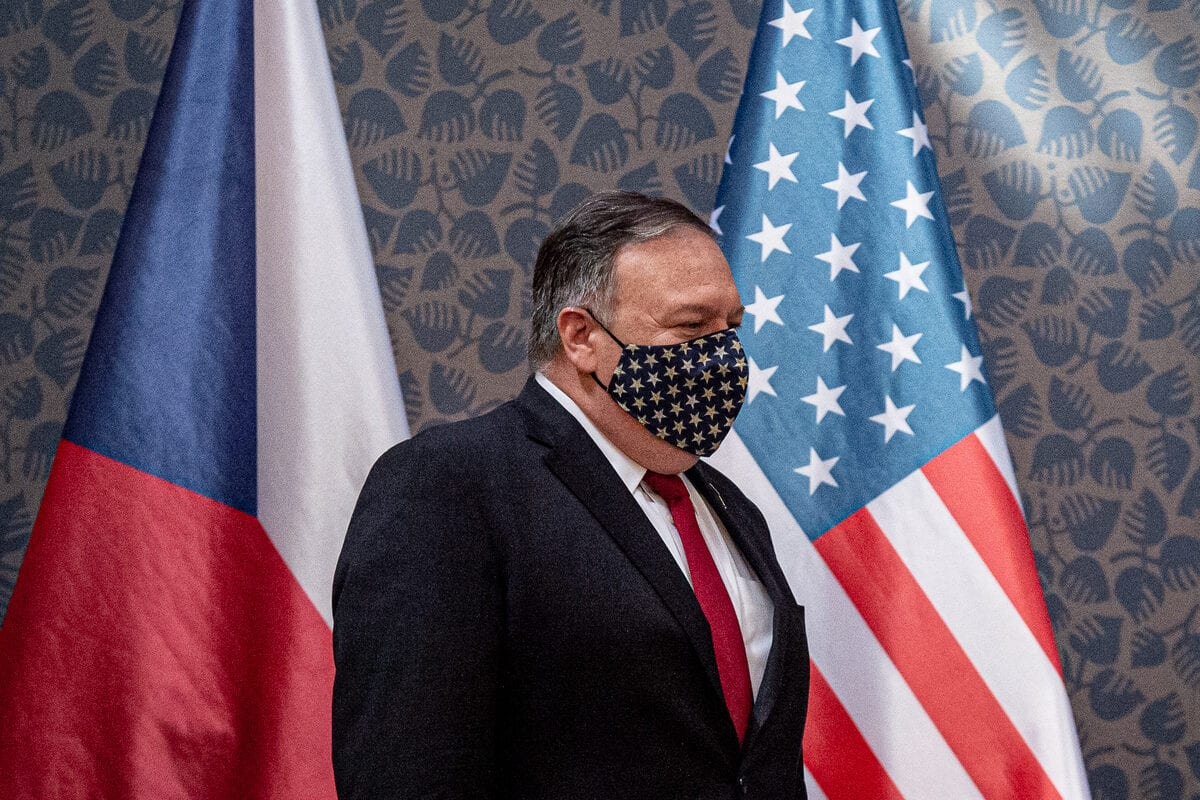 US Secretary of State Mike Pompeo seen at a press conference in Prague, Czech Republic on August 11, 2020 [Lukas Kabon/ Anadolu Agency]