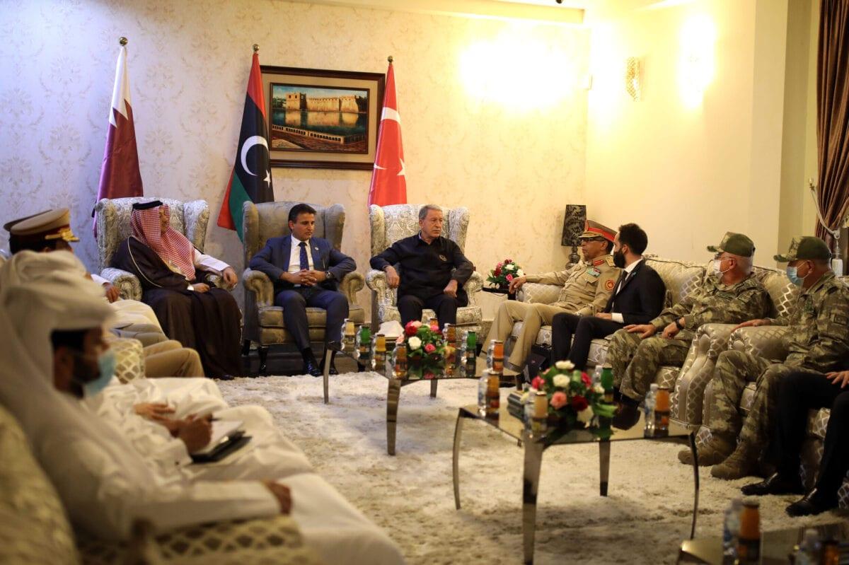 Turkish Defense Minister Hulusi Akar meets with Qatari Defense Minister Khalid Bin Mohammed al-Attiyah and Libyan Deputy Defense Minister Saladin en-Nemrush, in Tripoli, Libya on August 17, 2020 [Arif Akdoğan - Anadolu Agency]