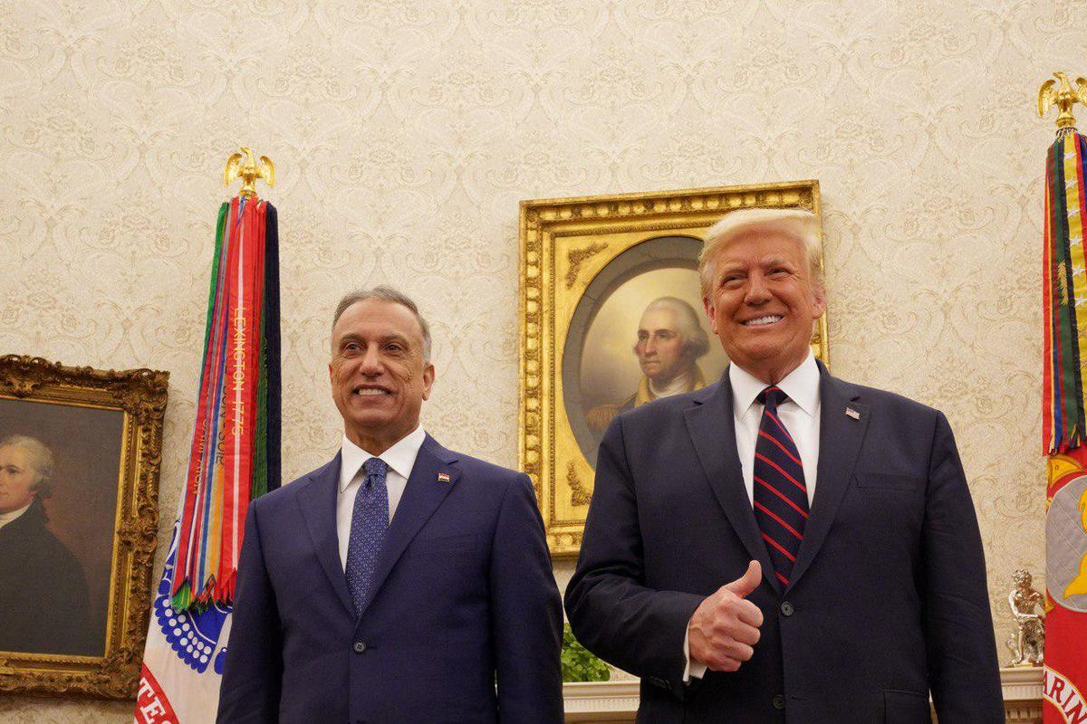 Iraqi Prime Minister Mustafa al-Kadhimi meets US President Donald J. Trump at the White House during his official visit in Washington, United States on August 21, 2020 [Iraqi Prime Ministry/Handout/Anadolu Agency]