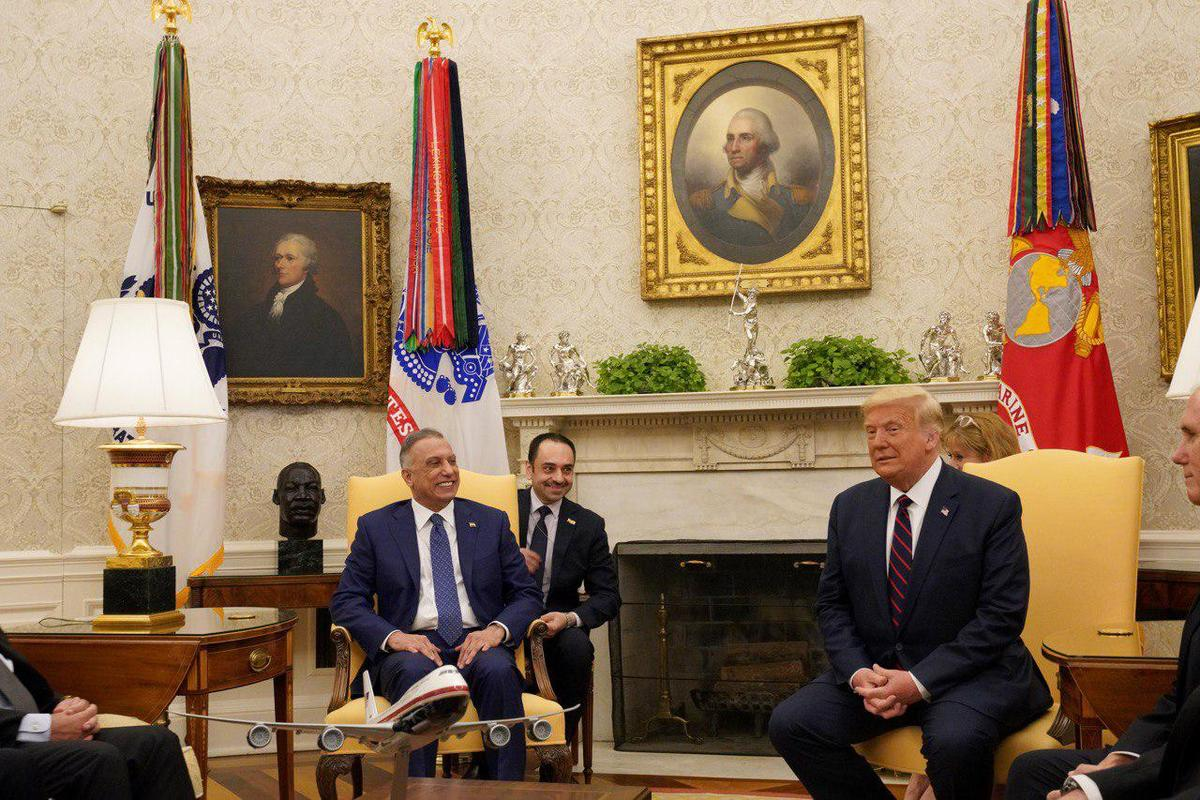 Iraqi Prime Minister Mustafa al-Kadhimi meets US President Donald J. Trump at the White House during his official visit in Washington, United States on 21 August 2020. [Iraqi Prime Ministry / Handout - Anadolu Agency]