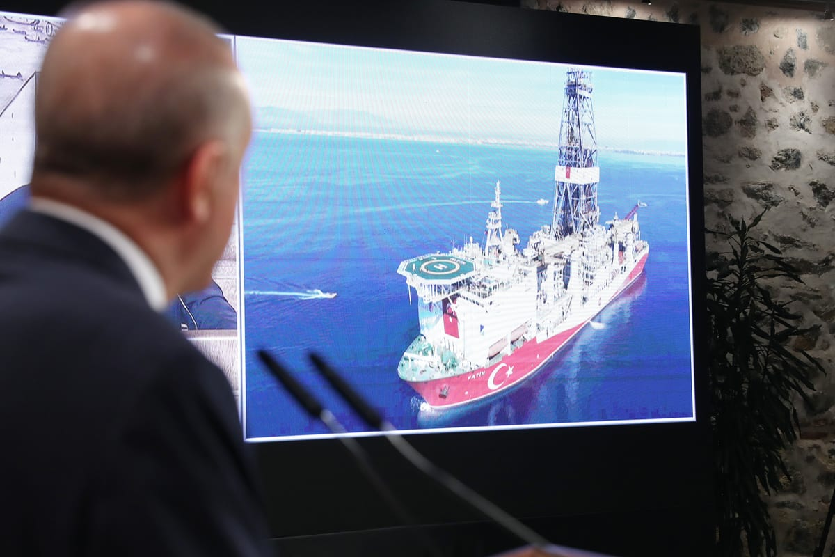 President of Turkey, Recep Tayyip Erdogan speaks on the discovery of a major natural gas reserve off Black Sea coast during a press conference at the Dolmabahce Palace Presidential Work Office in Istanbul, Turkey on August 21, 2020 [TCCB/Murat Çetinmühürdar/Anadolu Agency]