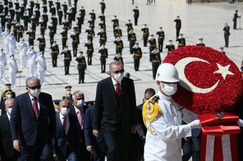 Turkish President Recep Tayyip Erdogan visits Anitkabir, mausoleum of Turkish Republic founder Mustafa Kemal Ataturk, to mark the 98th Anniversary of Turkey's Victory Day, a key Turkish defeat of Greek forces in the country's War of Independence 1919-1922, in Ankara, Turkey on 30 August 2020. [Mustafa Kamacı - Anadolu Agency]
