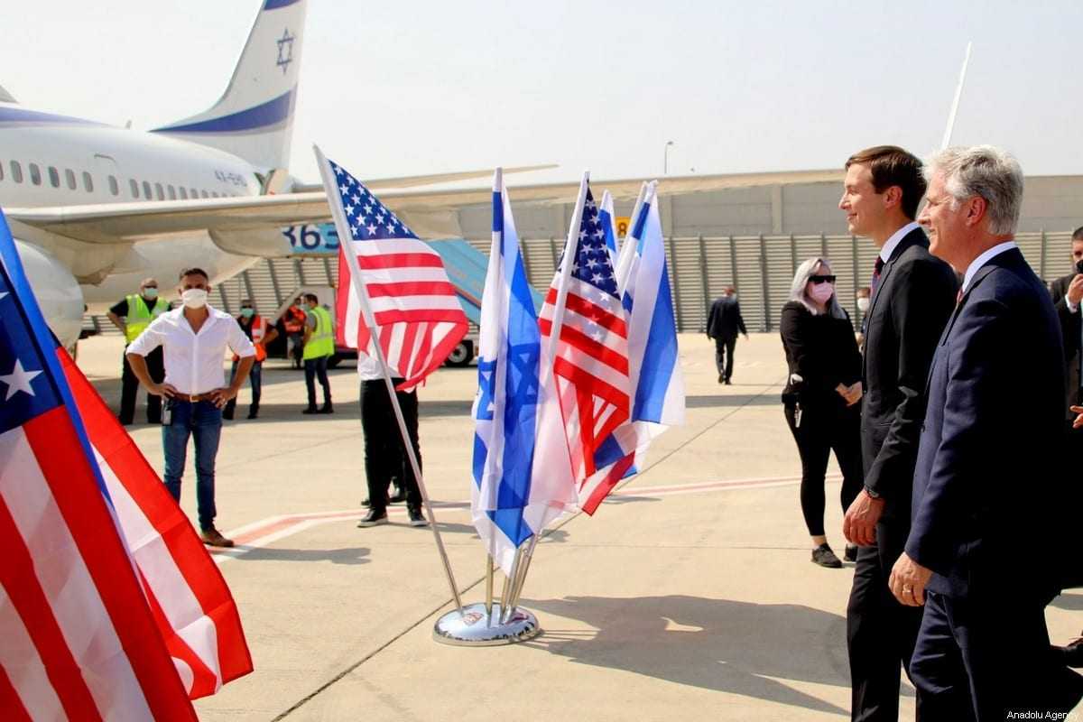 An Israeli delegation led by National Security Advisor Meir Ben-Shabbat, and US National Security Advisor Robert O'Brien and US President Trump's senior adviser Jared Kushner (L) board the Israeli flag carrier El Al's airline on August 31, 2020 [Israel Airports / Sivan Farag/Anadolu Agency]