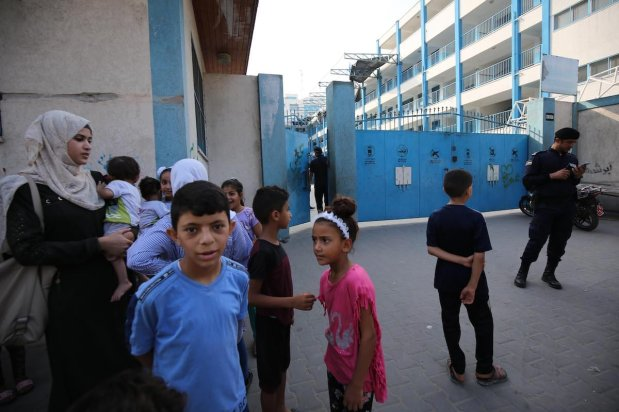 Israel strikes school in Gaza refugee camp on 14 August [Mohammed Asad/Middle East Monitor]