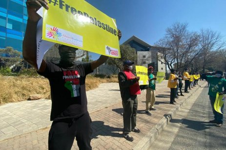 Protest outside the Israeli Embassy in South Africa on 14 August 2020 [#Africa4Palestine]