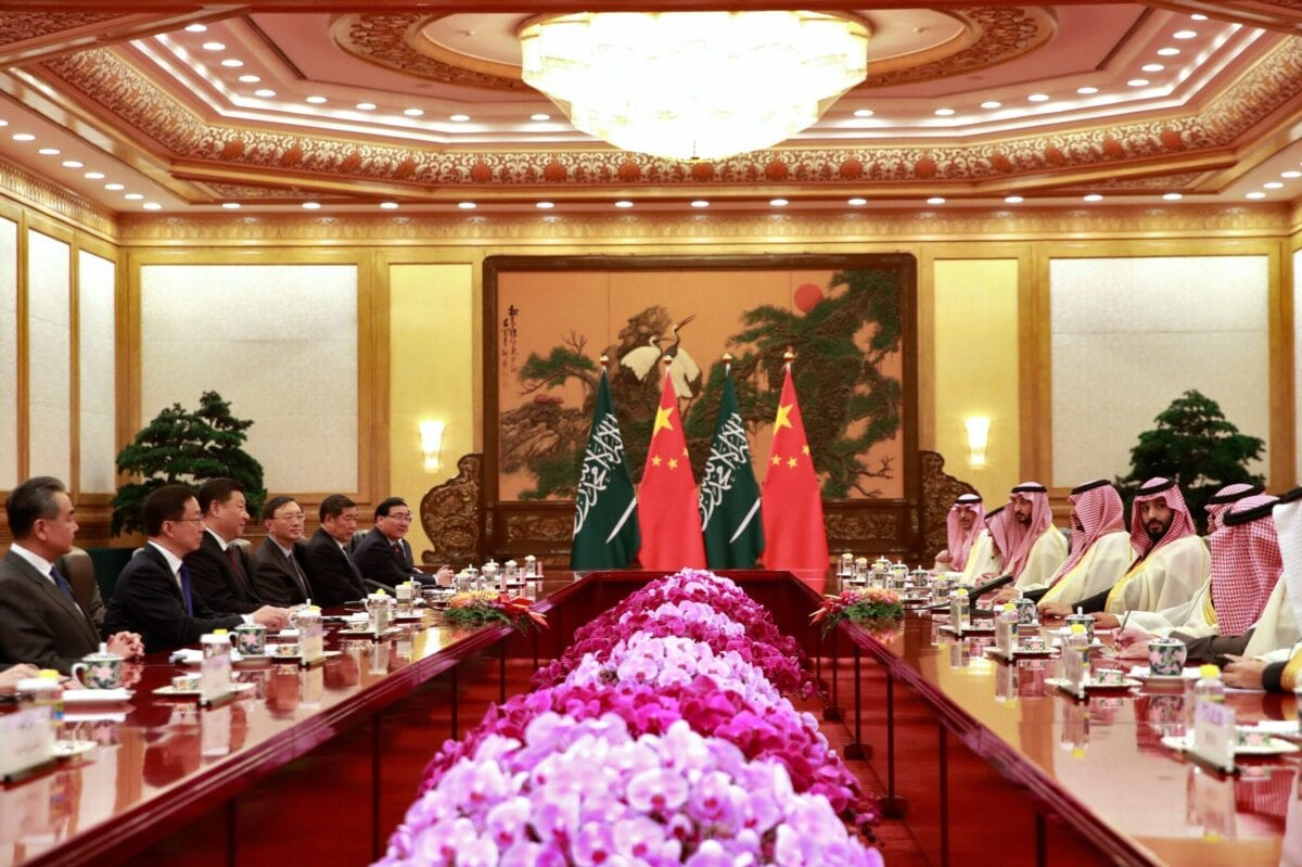 Saudi Crown Prince Mohammed bin Salman (4th R) attends a meeting with Chinese President Xi Jinping (3rd L) at the Great Hall of the People in Beijing on February 22, 2019 [HOW HWEE YOUNG/AFP via Getty Images]