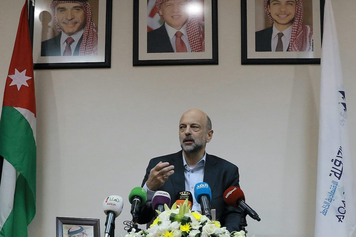 Jordan's Prime Minister Omar al-Razzaz gives a press conference in the southern port city of Aqaba on 23 July 2019, discussing projects in the area including an underwater military museum. [KHALIL MAZRAAWI/AFP via Getty Images]
