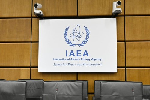 Logo of the International Atomic Energy Agency (IAEA) prior to a meeting in Vienna on August 1, 2019 [HANS PUNZ/AFP via Getty Images]