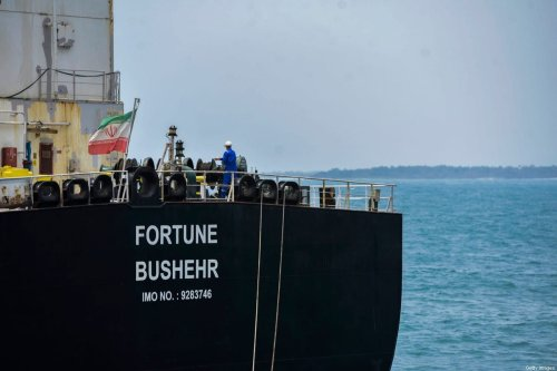 The Iranian-flagged oil tanker docked in Venezuela, on May 25, 2020 [AFP via Getty Images]