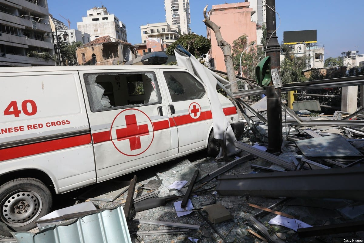 An emergency command vehicle of the Lebanese Red Cross is pictured in the aftermath of yesterday's blast that tore through Lebanon's capital and resulted from the ignition of a huge depot of ammonium nitrate at Beirut's port, on August 5, 2020. [ANWAR AMRO/AFP via Getty Images]