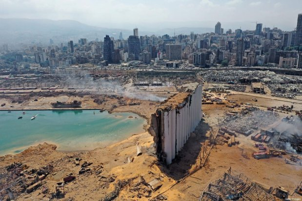 An aerial view shows the massive damage done to Beirut port's grain silos and the area around it on August 5, 2020 [AFP via Getty Images]