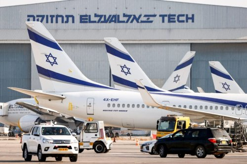 This picture taken on August 3, 2020 shows the tail end of an Israeli El Al airline Boeing 737-958 aircraft on the tarmac at Israel's Ben Gurion Airport in Lod, east of Tel Aviv. [JACK GUEZ/AFP via Getty Images]