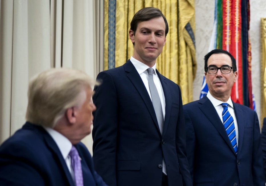 Surrounded by leaders of Israel and UAE, Jared Kushner makes remakes as President Donald Trump announces a peace agreement to Establish Diplomatic ties, with Israel and the UAE, Thursday, Aug. 13, 2020 [Doug Mills/The New York Times]
