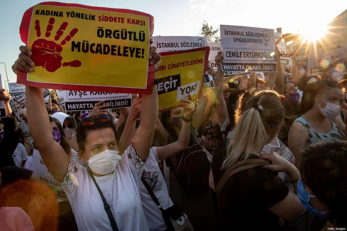 Women chant slogans and wave signs during a demonstration for the prevention of violence against women on August 05, 2020 in Istanbul, Turkey [Chris McGrath/Getty Images]