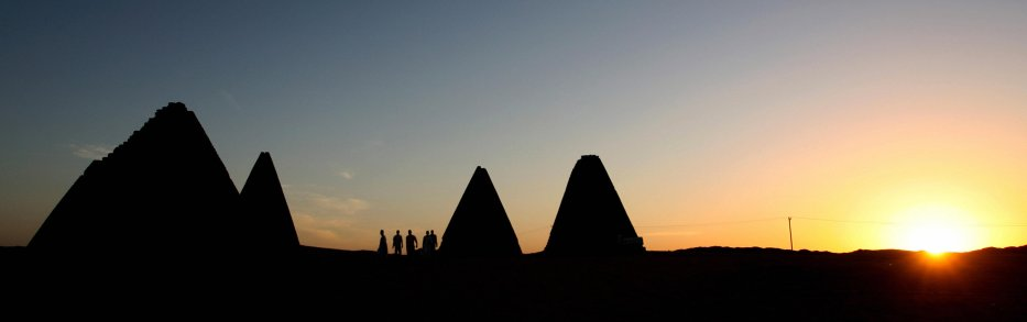 The he Royal pyramids, (500 km) north of Khartoum, Sudan, built in Nubia about 800 years after the last Egyptian pyramid was built [KHALED DESOUKI/AFP via Getty Images]
