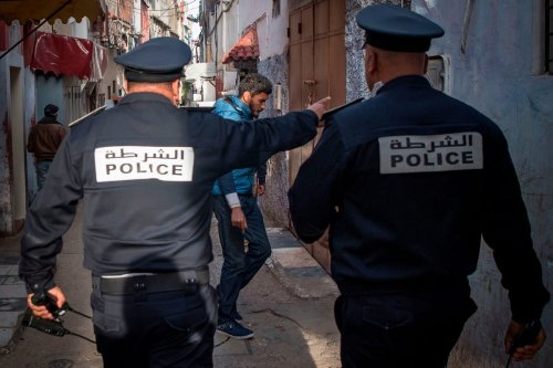 Moroccan policemen in Rabat, Morocco on 27 March 2020 [FADEL SENNA/AFP via Getty Images]