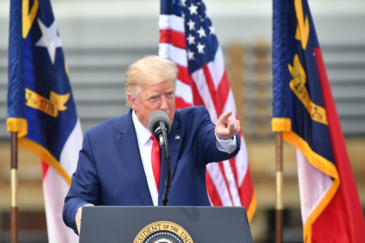 President Trump makes a in Wilmington, NC United States on September 2, 2020 [Peter Zay/Anadolu Agency]