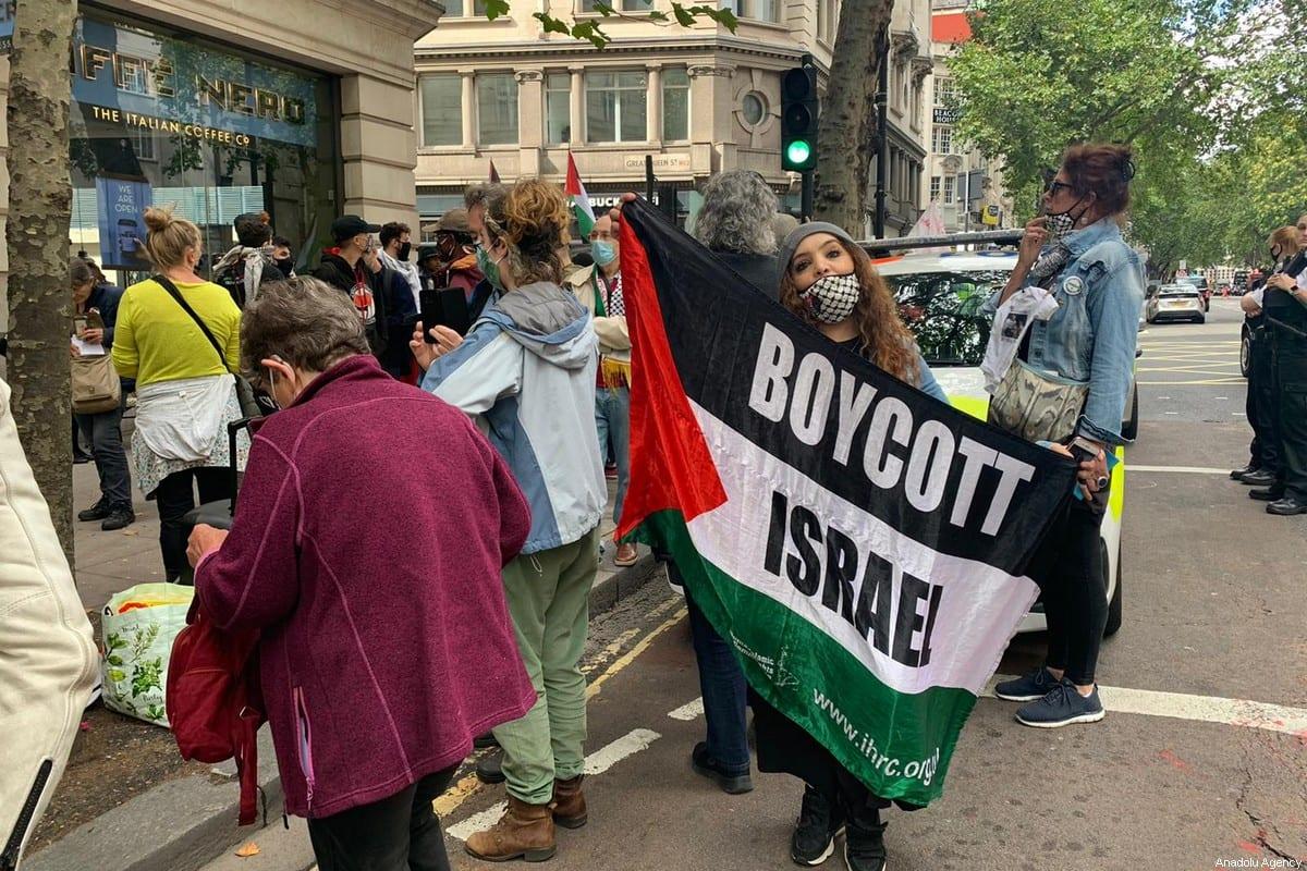 Protest calling for a boycott against Israel in London, UK on 5 September 2020 [Bilal Acar/Anadolu Agency]