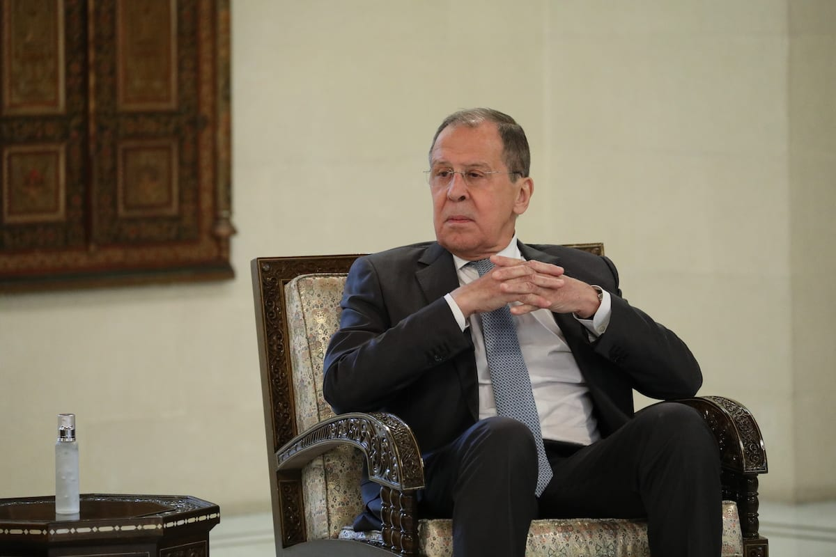 Russia's Foreign Minister Sergei Lavrov in Damascus, Syria on September 07, 2020 [Russian Foreign Ministry/Handout/Anadolu Agency]