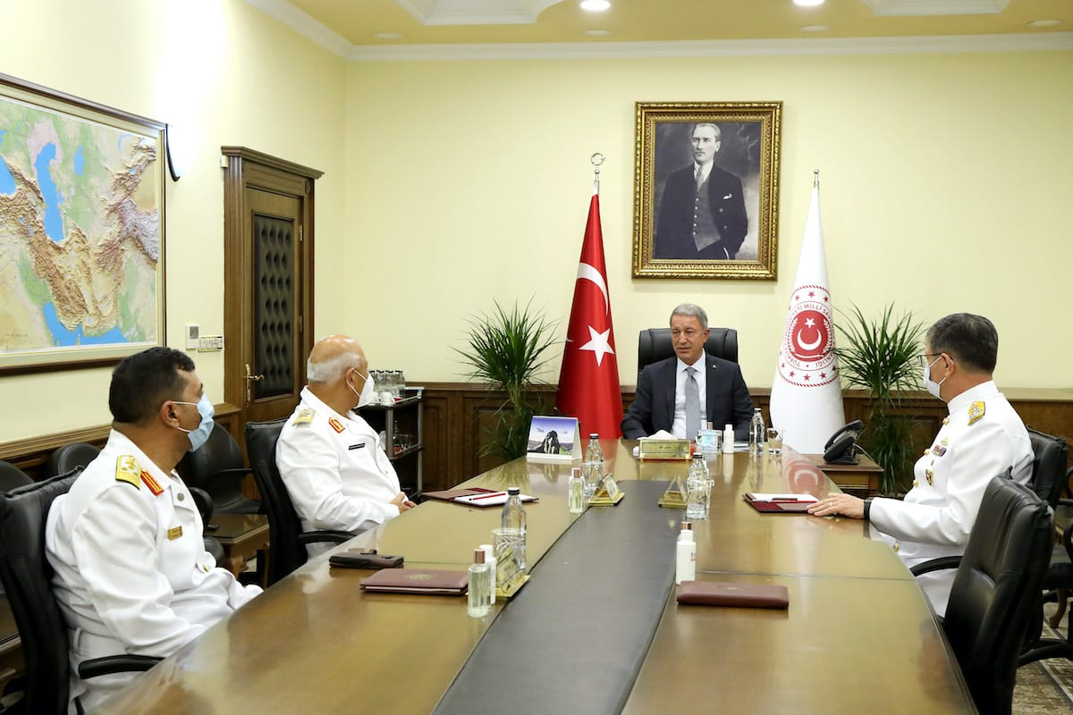 """ANKARA, TURKEY - SEPTEMBER 14: (----EDITORIAL USE ONLY – MANDATORY CREDIT - """" MINISTRY OF NATIONAL DEFENCE OF TURKEY / HANDOUT"""" - NO MARKETING NO ADVERTISING CAMPAIGNS - DISTRIBUTED AS A SERVICE TO CLIENTS----) Minister of National Defence of Turkey, Hulusi Akar (2nd R) receives Chief of Naval Staff of Libyan Navy, Abdul Hakim Abu Hawliyeh (2nd L) in Ankara, Turkey on September 14, 2020. ( Ministry Of National Defence - Anadolu Agency )"""