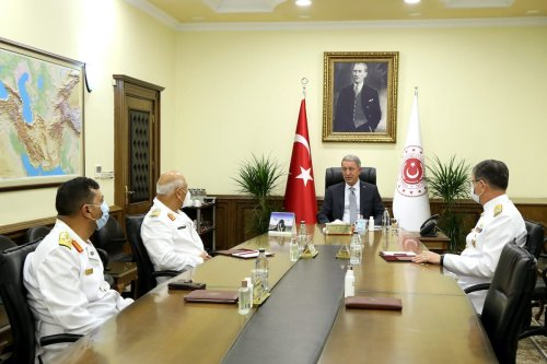 "ANKARA, TURKEY - SEPTEMBER 14: (----EDITORIAL USE ONLY – MANDATORY CREDIT - "" MINISTRY OF NATIONAL DEFENCE OF TURKEY / HANDOUT"" - NO MARKETING NO ADVERTISING CAMPAIGNS - DISTRIBUTED AS A SERVICE TO CLIENTS----) Minister of National Defence of Turkey, Hulusi Akar (2nd R) receives Chief of Naval Staff of Libyan Navy, Abdul Hakim Abu Hawliyeh (2nd L) in Ankara, Turkey on September 14, 2020. ( Ministry Of National Defence - Anadolu Agency )"