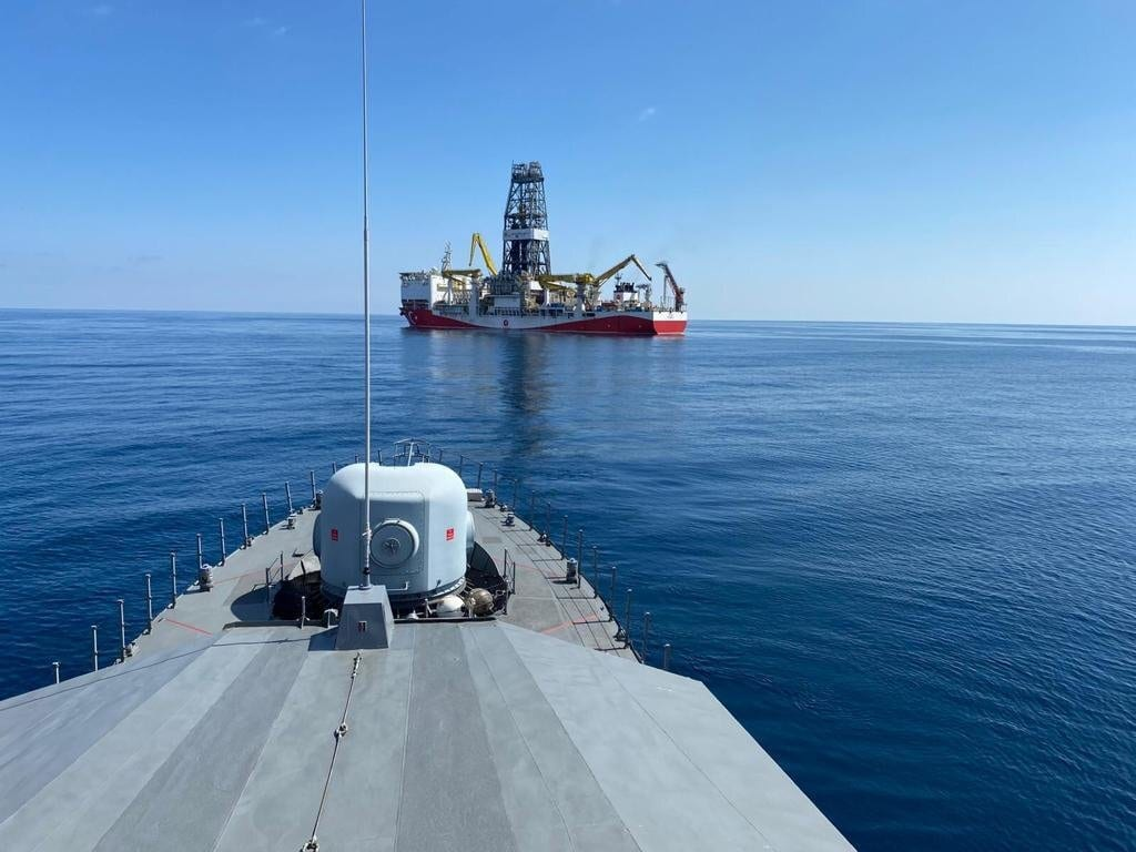 Turkey's Fatih Drill ship , escorted by Turkish navy, is seen offshores of Black Sea [Turkish Defence Ministry/HandoutAnadolu Agency]