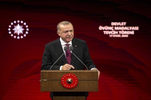 Turkish President Recep Tayyip Erdogan in Ankara, Turkey on 17 September 2020 [Ali Balıkçı/Anadolu Agency]