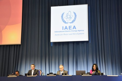 VIENNA, AUSTRIA - SEPTEMBER 21: Director General of the International Atomic Energy Agency (IAEA) Rafael Mariano Grossi (3rd R) attends the 64th General Conference of the IAEA at its headquarters in Vienna, Austria on September 21, 2020. ( Aşkın Kıyağan - Anadolu Agency )
