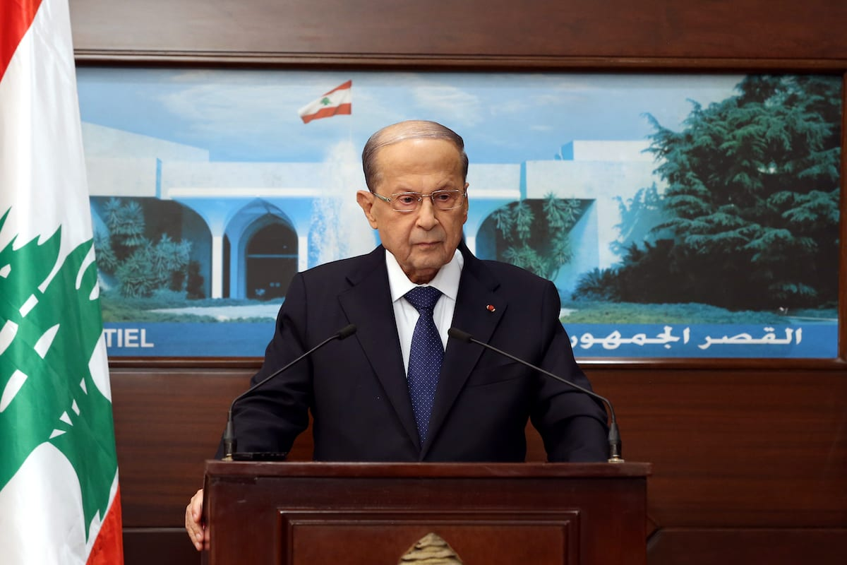 Lebanese President, Michel Aoun speaks on forming of a new government after the former government's resignation following the massive explosion in Beirut during a press conference at Baabda Presidential Palace in Beirut, Lebanon on September 20, 2020 [Lebanese Presidency / Handout - Anadolu Agency]