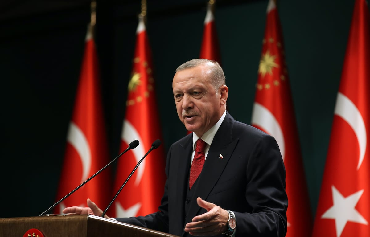President of Turkey, Recep Tayyip Erdogan gives a news conference after the cabinet meeting at the Presidential Complex in Ankara, Turkey on September 21, 2020 [Mustafa KamacıAnadolu Agency]