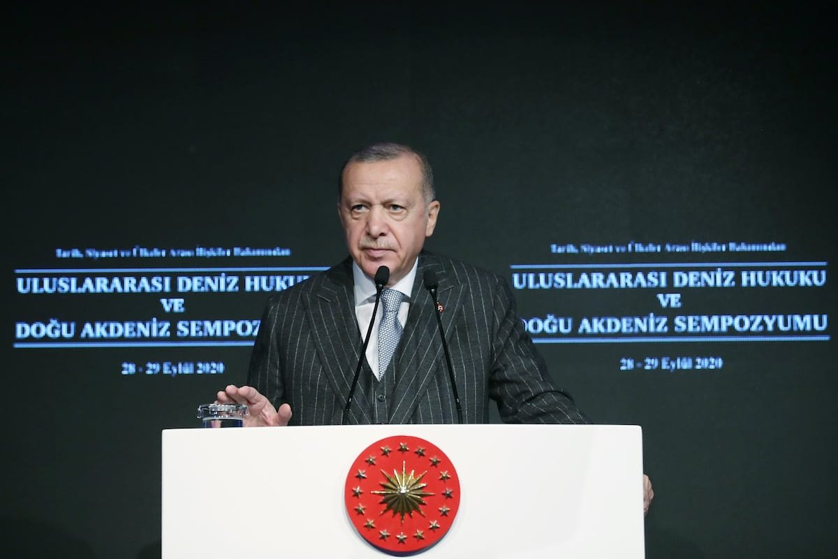 President of Turkey, Recep Tayyip Erdogan makes a speech during the International Maritime Law and Eastern Mediterranean Symposium in Terms of History, Politics and International Relations at Dolmabahce Office in Istanbul, Turkey on 28 September 2020. [Mustafa Kamacı - Anadolu Agency]