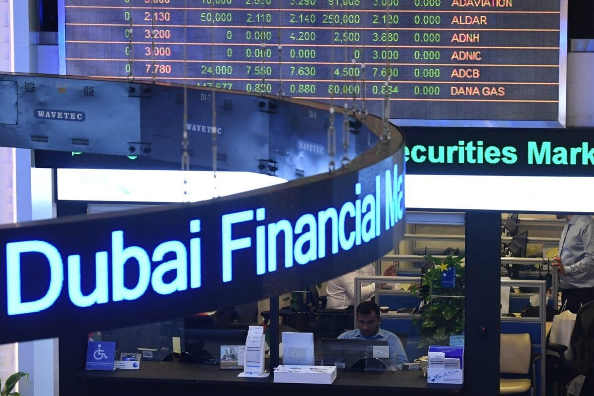 A photo taken on January 6, 2020 shows the Dubai Financial Market in the Gulf emirate as Gulf bourses were hit by a panicky sell-off amid Iranian vows of retaliation over the US killing of a top general. - All seven bourses in the Gulf Cooperation Council (GCC) states closed in the red, on the first trading day since the death of powerful military commander Qasem Soleimani. (Photo by Karim SAHIB / AFP) (Photo by KARIM SAHIB/AFP via Getty Images)