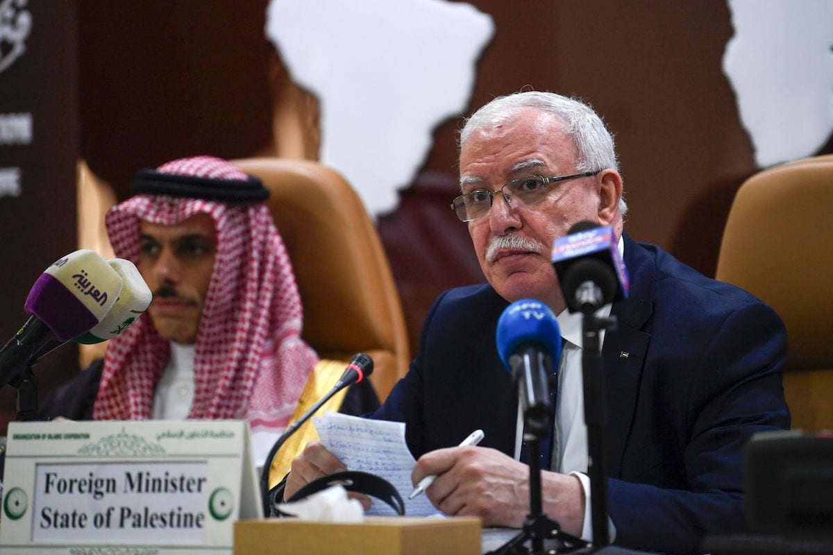 Palestinian Foreign Minster Riyad al-Maliki (R) delivers a speech during an emergency ministerial meeting of the Organisation of Islamic Cooperation (OIC) in Jeddah on 3 February 2020, to address US President Donald Trump's Middle East plan. [AMER HILABI/AFP via Getty Images]
