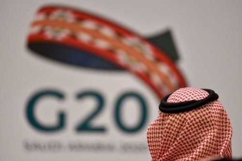 An unidentified guest attends a meeting of Finance ministers and central bank governors of the G20 nations in the Saudi capital Riyadh on February 23, 2020 [FAYEZ NURELDINE/AFP via Getty Images]