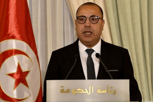 Tunisia's new Prime Minister Hichem Mechichi speaks during a government handover ceremony in Carthage on the eastern outskirts of the capital Tunis on September 3, 2020. (Photo by FETHI BELAID / AFP) (Photo by FETHI BELAID/AFP via Getty Images)