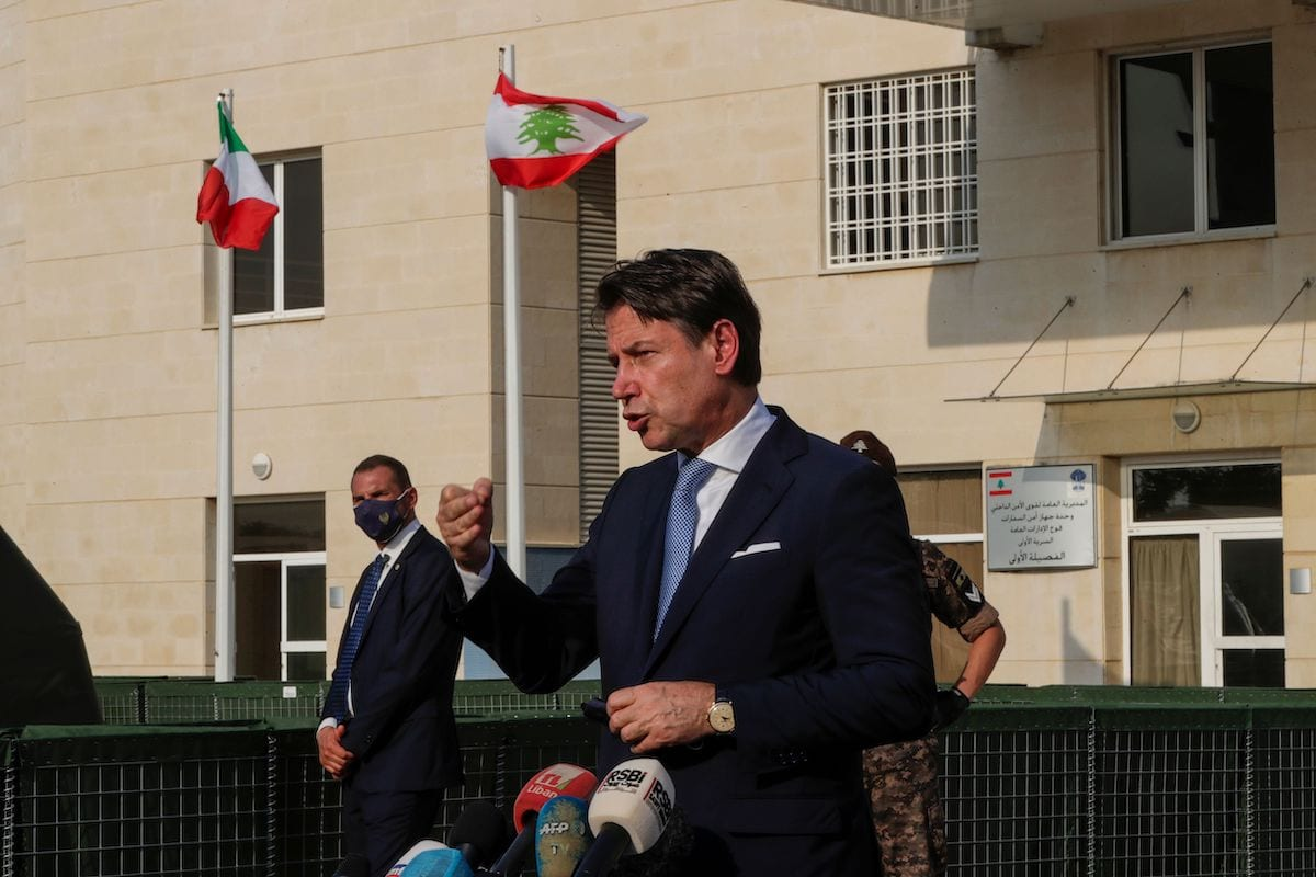 Italy's Prime Minister Giuseppe Conte at the Italian field hospital at the Lebanese University campus in the town of Hadath, north of the capital Beirut on 8 September, 2020 [ANWAR AMRO/AFP via Getty Images]