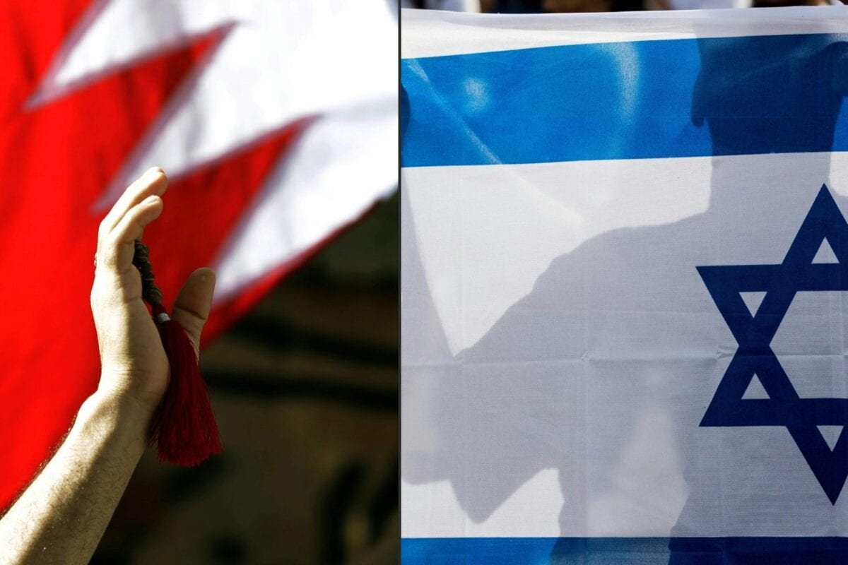 Bahraini man waving a national flag (L) and Israeli man holding his country's national flag [JOSEPH EID,JACK GUEZ/AFP via Getty Images]