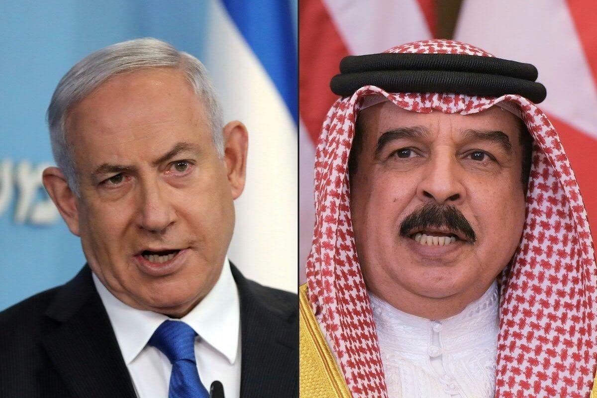 Israeli Prime Minister Benjamin Netanyahu in Jerusalem on 13 August 2020, and (R) Bahrain's King Hamad bin Isa Al Khalifa in the Saudi capital Riyadh on 21 May 2017. [ABIR SULTAN,MANDEL NGAN/AFP via Getty Images]