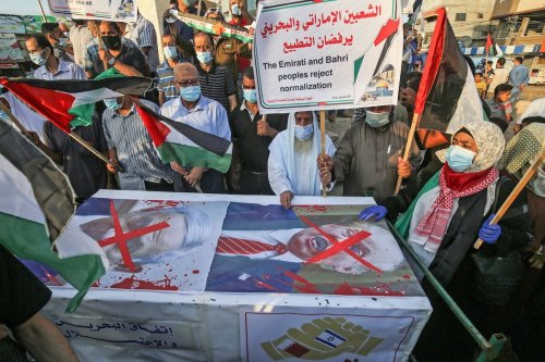 Palestinians protest in Rafah in the southern Gaza Strip against Israeli normalisation deals with the United Arab Emirates and Bahrain on 15 September 2020 [SAID KHATIB/AFP via Getty Images]