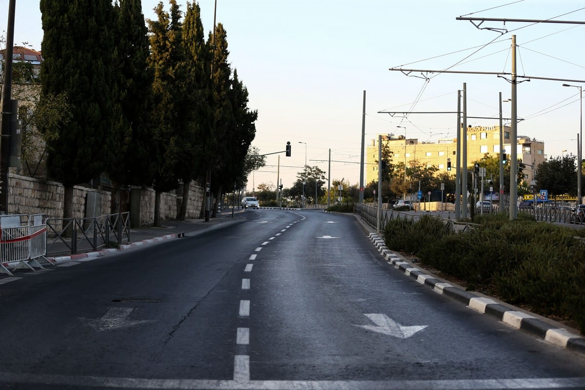 JERUSALEM - SEPTEMBER 27: Roads remain nearly empty after Israeli forces closed main roads due to the Jewish Yom Kippur also known as the Day of Atonement, the holiest day of the year in Judaism, in Jerusalem on September 27, 2020. ( Mostafa Alkharouf - Anadolu Agency )