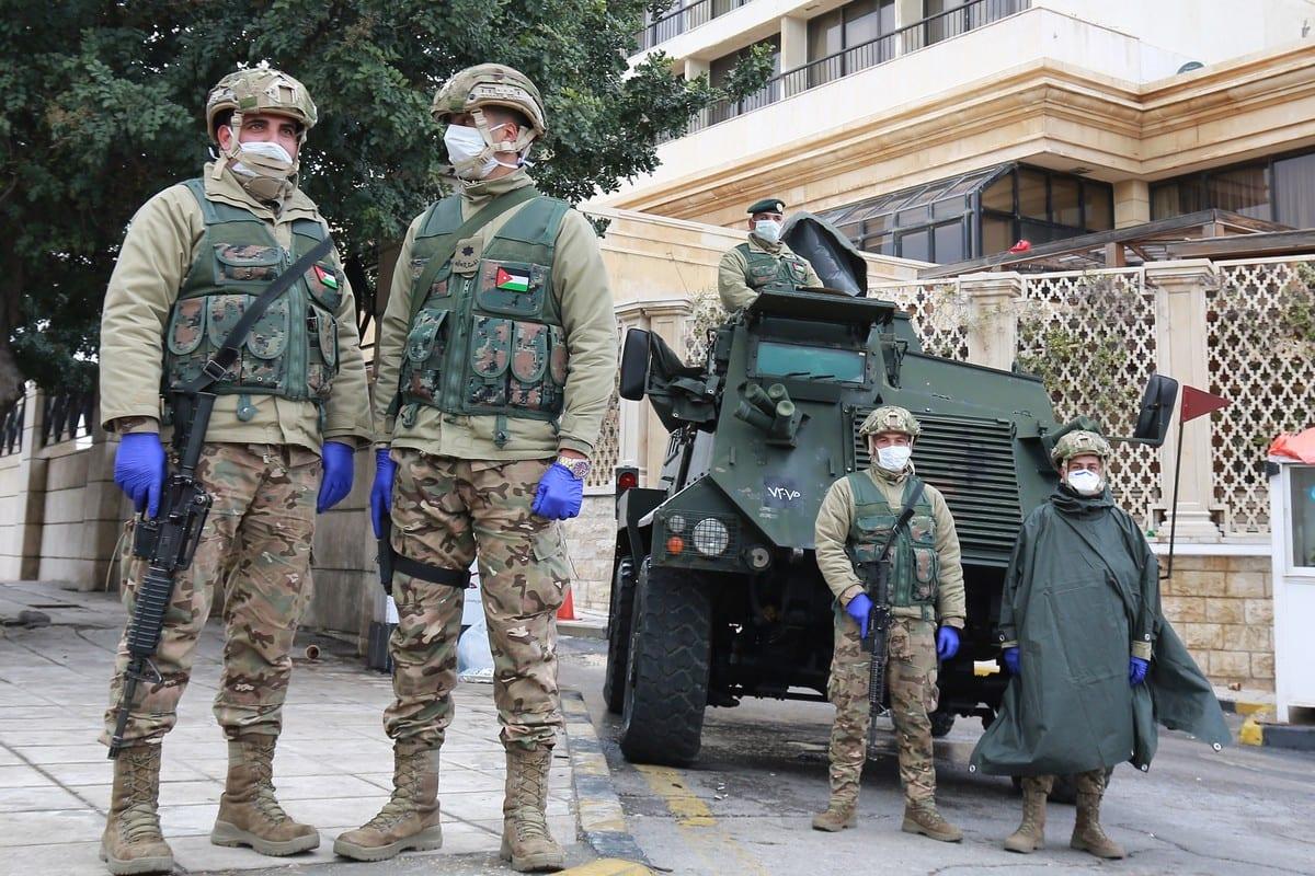 Jordanian soldiers in Amman, Jordan on 18 March 2020 [KHALIL MAZRAAWI/AFP/Getty Images]