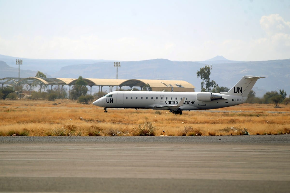 United Nations aircraft at Sanaa International Airport in Yemen on 3 February 2020 [MOHAMMED HUWAIS/AFP/Getty Images]