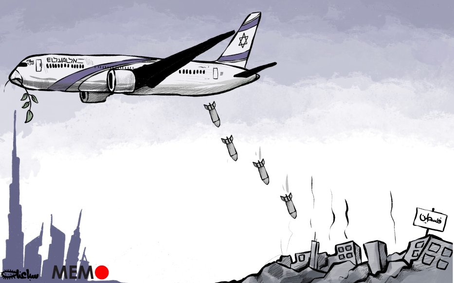 First Israeli plane landed in Abu Dhabi after taking off from Tel Aviv and flying through Saudi airspace - Cartoon [Sabaaneh/MiddleEastMonitor]