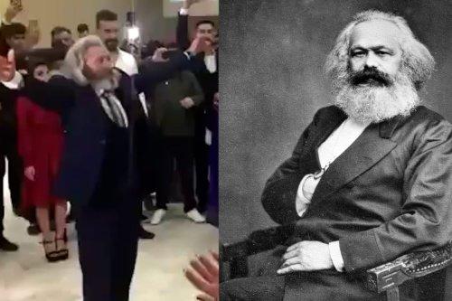 Karl Marx lookalike busts a move at Turkey wedding