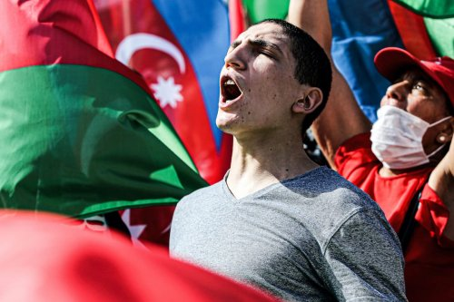 Azerbaijanis, living in Istanbul, gather at Beyazit Square in support of their country's struggle against Armenia, on 4 October 2020 [Elif Öztürk/Anadolu Agency]