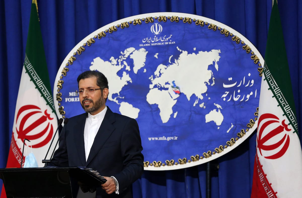 TEHRAN, IRAN - OCTOBER 5: Iranian Foreign Ministry Spokesman Saeed Khatibzadeh speaks about the conflicts between Azerbaijan and Armenia during a press conference held at the Ministry of Foreign Affairs building in Tehran, Iran on October 5, 2020. ( Fatemeh Bahrami - Anadolu Agency )