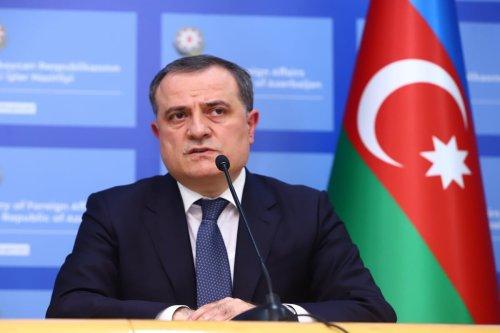 BAKU, AZERBAIJAN - OCTOBER 06: Minister of Foreign Affairs of Azerbaijan, Jeyhun Bayramov makes a speech during a press conference with Minister of Foreign Affairs of Turkey, Mevlut Cavusoglu (not seen) following their bilateral meeting in Baku, Azerbaijan on October 06, 2020. ( Resul Rehimov - Anadolu Agency )