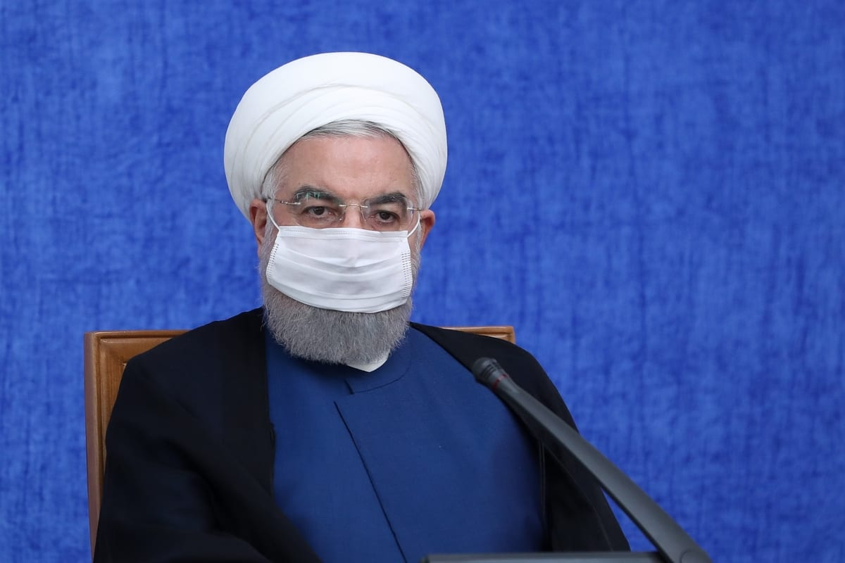 Iranian President Hassan Rouhani makes a speech about the US sanctions and the Iran's economic situation during the Economic Coordination Center meeting in Tehran, Iran on 6 October 2020. [Iranian Presidency - Anadolu Agency]
